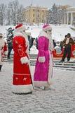 Дед Мороз (сделал Moroz) приветствует людей, Кристмас, Стоковое Изображение RF