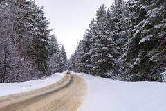 Дезертированная дорога зимы в лесе Стоковые Фото