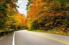 Дезертированная извилистая дорога на пасмурный день осени Стоковая Фотография RF