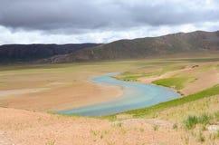 Дезертированные реки в плато Тибета Стоковая Фотография