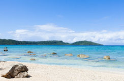 Дезертированный тропический рай пляжа, Окинава, Япония Стоковая Фотография RF
