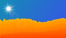 Дезертируйте ландшафт с ясными голубым небом и солнцем EPS10 Стоковые Фотографии RF