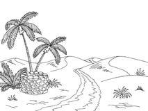 Дезертируйте черноты колодца оазиса дороги иллюстрацию эскиза ландшафта графической белую Стоковое фото RF