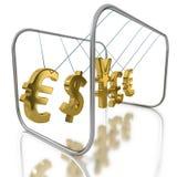 Действие и противодействие как валюты влияет на другие валюты иллюстрация штока