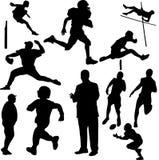 действие silhouettes спорты Стоковые Фотографии RF