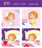 Действия детей по заведенному порядку - сон спокойной ночи туго иллюстрация вектора