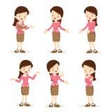 Действия женщины учителя различные Стоковые Изображения