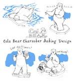Действовать шаржа медведя колы дизайна характера Стоковые Фотографии RF