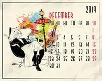 декабрь Календарь 2019 европейцев с девушкой моды иллюстрация штока