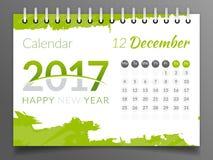 Декабрь 2017 Календарь 2017 Стоковое Изображение