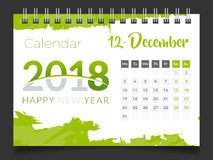 Декабрь 2018 Настольный календарь 2018 Стоковое фото RF