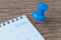 Декабрь 2018, обзор в конце года, планирование даты, назначение, мертвое стоковая фотография