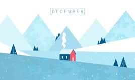 декабрь приветствие рождества карточки Уютный дом в лесе и горах зима температуры России ландшафта 33c января ural вектор иллюстрация вектора