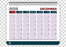 Декабрь 2019 Шаблон дизайна плановика календаря бесплатная иллюстрация