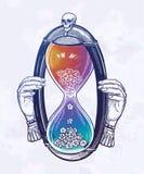 Декоративная античная иллюстрация часов с черепом Эскиз для татуировки dotwork, дизайна футболки хипстера, винтажного стиля иллюстрация вектора