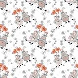 Декоративная безшовная картина с смешными животными, дизайн для детей Стоковое Изображение