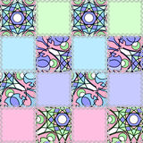 Декоративная безшовная предпосылка заплатки картины с яркими элементами Стоковые Фотографии RF