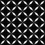 Декоративная безшовная флористическая геометрическая черная & белая предпосылка картины Стоковая Фотография