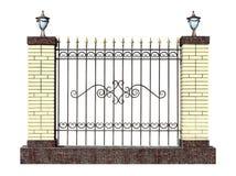 Декоративная выкованная загородка с штендером Стоковое Изображение RF