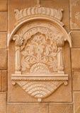 Декоративная деталь форта Jaisalmer в Jaisalmer, Раджастхане, внутри Стоковая Фотография