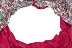 Декоративная задрапировывая рамка ткани Диаграмма шарфа ` s женщин красная великобританский флаг Стоковое Изображение RF