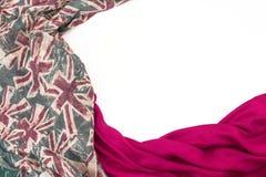Декоративная задрапировывая рамка ткани Диаграмма шарфа ` s женщин красная великобританский флаг Стоковая Фотография