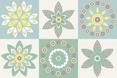 Декоративная картина с стильными цветками и флористическими элементами иллюстрация штока