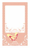 Декоративная карточка приглашения с точками бабочки и польки Стоковые Изображения RF