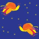 Декоративная карточка с Firebird, предпосылка пер безшовная Стоковое Изображение