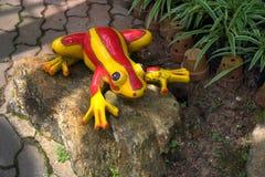Декоративная керамическая лягушка в саде Стоковое Изображение RF