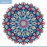 Декоративная мандала в голубых розовых цветах иллюстрация вектора