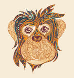 Декоративная орнаментальная голова обезьяны Символ года 2016 мимо Стоковая Фотография