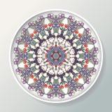 декоративная плита Круглый орнамент с птицами, цветками и листьями также вектор иллюстрации притяжки corel иллюстрация штока