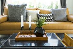 Декоративная подушка на кожаной софе в живущей комнате Стоковые Изображения RF
