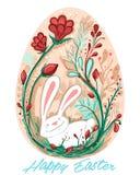 Декоративная поздравительная открытка пасхального яйца с кроликом и красным цветом цветет стоковая фотография