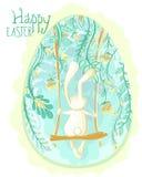 Декоративная поздравительная открытка пасхального яйца с кроликом и синью цветет стоковые изображения rf