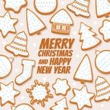 Декоративная предпосылка различного пряника рождества с Новым Годом надписи с Рождеством Христовым и счастливым на светлой предпо Стоковая Фотография