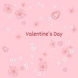 Декоративная предпосылка сердца с серией сердец и цветков валентинок Стоковые Изображения