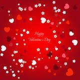 Декоративная предпосылка сердца с серией сердец и цветков валентинок Стоковое фото RF
