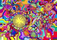Декоративная психоделическая абстрактная предпосылка Стоковые Фото
