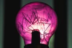 Декоративная пурпурная лампа вольфрама над темнотой стоковые фото