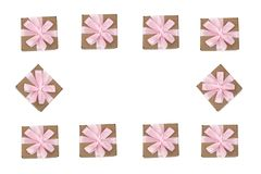 Декоративная рамка подарочных коробок на белой предпосылке Стоковые Фото