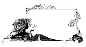 Декоративная рамка с девушкой и цветками Стоковые Фото