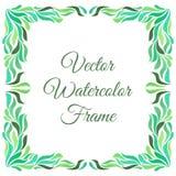 Декоративная рамка с листвой зеленого цвета акварели изолированной на белой предпосылке иллюстрация штока