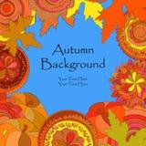 Декоративная рамка с doodle объезжает, тыквы, и листья Стоковое Фото