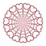 Декоративная розетка с сердцами изолированными на белой предпосылке иллюстрация вектора