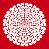 Декоративная розетка с сердцами изолированными на красной предпосылке иллюстрация вектора