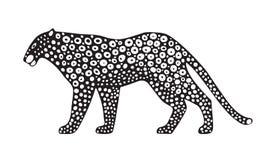 Декоративная стилизованная дикая кошка ягуара Иллюстрация животного вектора белизна изолированная предпосылкой Стоковое фото RF
