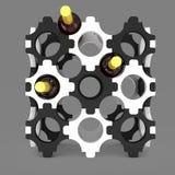 Декоративная стойка бутылки с вином иллюстрация 3d Иллюстрация вектора