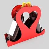 Декоративная стойка бутылки для вина в форме сердца на теме свадьбы иллюстрация 3d Стоковая Фотография RF